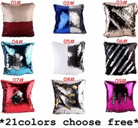 Wholesale Car Neck Cushion Pillow Covers - 40*40cm Double Side Sequin Pillow Case Cover Glamour Square Pillow Case Cushion Cover Home Sofa Car Decor Mermaid Bright Pillow Covers
