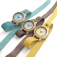 Wholesale Kinds Watch Strap - BOBO BIRD M22 M23 M24 Women Wooden Watches Three Kinds New Top Brand Luxury Horloges Vrouwen with Long Leather Strap as Birthday Gift