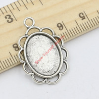 Wholesale Craft Pendant Frame Wholesale - Wholesale- 15pcs Tibetan Silver Plated Zinc Alloy Photo Frame Mirror Charms Pendants for Jewelry Making DIY Handmade Craft 29x20mm