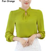 Wholesale Office Wear Tops Blouses - Fun Oran Women Shirts Blouses Long Sleeve Stand Collar Elegant Ladies Chiffon Blouse Tops Fashion Office Work Wear Chemise Femme q170638