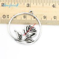 ожерелье ручной круг оптовых-Wholesale-10pcs/lot Antique Silver Plated Round Circle Flower Charm Pendants for Necklace Jewelry Making DIY Handmade Craft 36x34mm