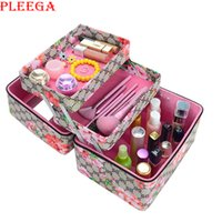 Wholesale Clear Cosmetic Makeup Organizer Box - Wholesale- PLEEGA New 2017 Beauty Vanity Box Necessaire Women Cosmetic Organizer Makeup Box Large Cosmetic Bag Brand Cosmetic Case Suitcase