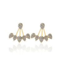 Wholesale Wholesale Earring Jacket - New Fashion Water Drop Rhinestone Ear Stud Earrings For Women Party Jewelry Gold Silver Plated Leaf Ear Jacket