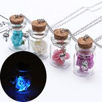Wholesale Glow Dark Bottle - Luminous Glow In The Dark Flower Rose Drift Bottle Pendant glowing flower light glass bottle necklace for Women Jewelry 162236