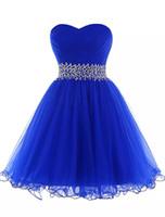 hoch niedriger blauer paillettenschatz großhandel-Königsblau Tüll Ballkleid Schatz Abendkleid Lace Up 2019 Elegante kurze Abendkleider New Party Dress
