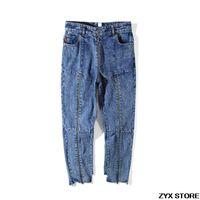 ingrosso chiusura lampo alti in jeans-2017SS Best Quality Vetements Donna Uomo Jeans Denim Ninth Pants Zipper Patchwork Donna Uomo irregolare Jeans a vita alta