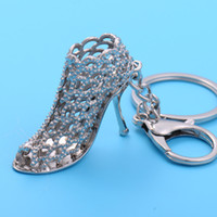 Wholesale Crystal Shoe Ornament - Crystal high-heeled shoes car key creative female bag ornaments key chain pendant personalized small gifts a161
