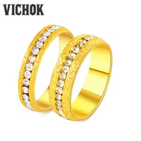 Wholesale Perfect Channel - 316L Stainless Steel Couple Rings Simple Channel Setting Rings For Women Men Lover Wedding Perfect Gift Rings Fine Jewelry Band VICHOK