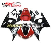 Carrinhos de ABS completos para Yamaha YZF 600 R6 YZF-R6 03 04 2003 2004 Sportbike ABS Motorcycle Fairing Kit Bodywork Black Red Carenes Cowling