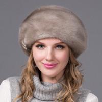 kaliteli mink şapkaları toptan satış-Toptan-2016 kalite gerçek kürk vizon şapka bere moda kadınlar yeni lüks iyi satış hakiki şapka kürk şapka tam ithalat DHY-53A