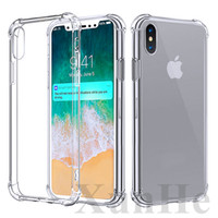 Wholesale Shockproof Casing Iphone - Shockproof Transparent Case for iPhone X 8 7 6 6S Plus Soft Gel TPU Case Clear Back Cover for Samsung S8 S8Plus
