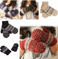 Wholesale Cheap Warm Gloves - Womens Christmas Gloves Cashmere Knit Wool Women Girl Snowflake Winter Keep Warmer Mittens Gloves cheap price Xmas gift G119