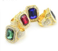 Wholesale Gem Square Ring - punk ring Hip hop Ring iced Out Full Rhinestone Square Red Blue Green Gem Crystal Rings Jewelry men stainless 316L ring