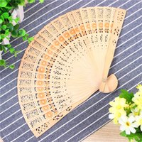 Wholesale favor art - Home Decoration Crafts Bamboo Wooden Fan Summer Accesory Art Folding Carved Hand Fan Party Favor