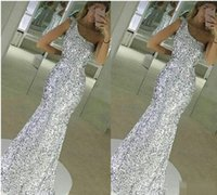 Wholesale One Shoulder Sparkled Prom Dresses - 2017 New Sparkle Bling Silver Prom Dresses Sequins Lace Long Mermaid Sleeveless One Shoulder Floor Length Formal Evening Dress Party Gowns