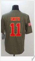 Kansas nuevo saludo al estilo de servicio # 11 <b>Alex Smith</b> American College fútbol cosido bordado uniformes Mens Sports Team Pro Jerseys baratos