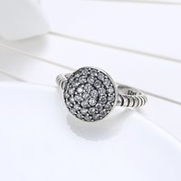 Wholesale Round Silver Ring Box - Round Arch Zircon Stone Silver Rings with Box Women 100% 925 Sterling Ring with Box Fashion Jewelry Party Engagement Accessories RG-168