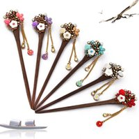 Wholesale Wholesale Wings Chicken - Hot sale The new disc hairpin fashion classic hairpin women step swing tassel chicken wing wood hairpin FZ017 mix order 20 pieces a lot