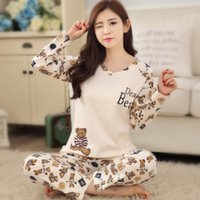 Wholesale woman home wear pajamas - Wholesale- Lovely pyjamas Fashion New Girls Pajamas causal carton women pajamas sets Sleepwear For women Home wear clothes Nightgown Sets