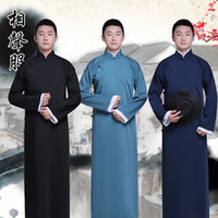 Wholesale Chinese Traditional Style Dress - New arrival male cheongsam Chinese style costume cotton man Mandarin jacket long gown traditional Chinese Tang suit dress Ethnic Clothing