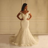 Wholesale Dress New Vestidos Noiva - New Lace Mermaid Wedding Dresses Gowns 2016 Hot Sales White Ivory Court Train Applique Off-the-shoulder Bridal Gowns Vestidos De Noiva W1613