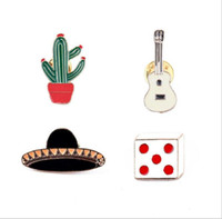Wholesale jean hats wholesale - wholesale 4pcs  set costume jewellery bag jean hat accessories metal enamel plant cactus pin collar brooch button badge