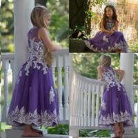 vestidos longos da menina de flor roxa venda por atacado-Linda Roxo Longo Meninas Pageant Vestidos de Renda Branca Apliques Princesa Flor Menina Vestidos Para O Casamento Crianças Formais Vestidos de Festa