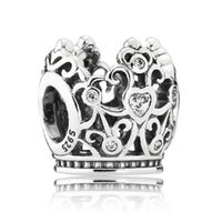 Wholesale Princess Coin - Authentic 925 Sterling Silver Bead Charm Openwork Princess Crown With Crystal Beads Fit Women Pandora Bracelet Bangle Jewelry HKA3168