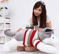 Wholesale Baby Christmas Items - Dorimytrader Hot Item 100cm Big Simulated Animal Husky Dog Plush Toy 39'' Giant Cartoon Dogs Stuffed Doll Pillow Baby Present DY61538
