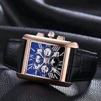 Wholesale Dark Brown Leather Belt Men - 2017top luxury brand W5310012 Gold stainless steel strap men Watches hollow dial transparent rear shell automatic mechanical aaa mens watch