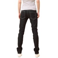 Wholesale Mens New Stylish Jeans - Wholesale- TKOH New Mens Stylish Candy Pants Casual Skinny Slim Elasticity Pants Jeans Trousers(Black) - 29