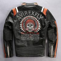 motorlu tezgahlar toptan satış-Harley-Motor giyim AVIREXFLY Erkek Motosiklet deri ceketi Nakışlı Geri Orijinal deri stand yaka İnce Kısa katman