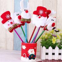 Wholesale Pink Plastic Christmas Tree - 2017 New Fashion Plastic Christmas Cartoon Pen Santa Claus Snowman Bear Elk Xmas Tree Ornaments Children's Gifts Christmas Decorations