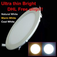 Vente en gros- DHL Livraison gratuite 20pcs / lot Ultra Thin Design 25W plafond encastré Grille LED Downlight / Slim Round Panel Light