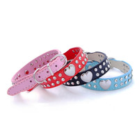 Barato Gargantilha De Strass De Couro-Novo Hot Sale 2 Row Bling Crystal Rhinestone Coração PU couro Cat Dog Collar Pet Necklace Puppy Choker Dog Supplies WA1818