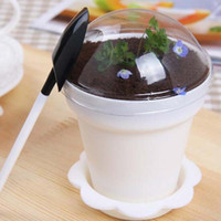 Wholesale Tiramisu Birthday Cake - 6 Colors Upick--20pcs lot Creative flower pot cake cups and shovel tiramisu decor ice cream decor for wedding birthday party