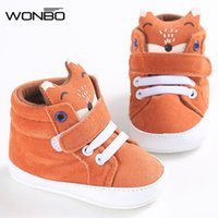 Wholesale Soft Sole Baby Sneakers - Wholesale- winter baby shoes Cotton Cloth kids Girl Boys Fox High Help first walker Canvas Sneaker Anti-slip Soft Sole Toddler footwear