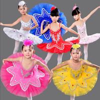 Wholesale Professional Ballroom Dresses - Children's Swan Lake Ballroom Ballet Costume dress Kids Ballet tutu Dancewear Stage Professional Ballet Tutu dancing Dress For Girsl