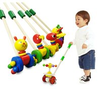 Wholesale Wooden Baby Walkers - Baby Wooden Hand Frog Push And Pull Animal Toddler Walker Children Kids Toy Car Outdoor Sports brinquedos juguetes