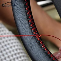 Wholesale Diy Leather Steering Wheel Covers - DIY Steering Wheel Covers Extremely soft Leather braid on the steering-wheel of Car With Needle and Thread Interior accessories