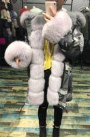 Wholesale Fox Collar Coat - fur coat parkas winter jacket coat women parka big real fox fur collar natural fox fur liner long outerwear