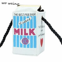 Wholesale Mini Milk Cartons - Wholesale-Wo weino Cute Stereo Mini Messenger Bags Milk Bag Makeup Cartoon Cartons Bag Women Fashion Letter Canvas Shoulders Bag