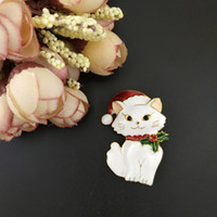 Wholesale kitty pin resale online - 50pcs mm Christmas Kitty Cat With Hat Brooch Pin Gold Tone Red And White Enamel Brooches Cute Animal Fashion Jewelry Pins