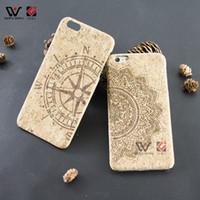 Wholesale Mobile Accesories - Flower Compass Cork Wood Phone Case for iPhone 6plus 6splus PC Back Blank Mobile Cell Phone Cover Accesories for Apple 6 6s plus