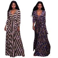 Wholesale Wholesale V Neck Wrap Dress - Deep V-Neck Blouson Sleeves Wrap Front Maxi Dress Jersey Resort Wear Patterned for Women   2 Colour   Wholesale Cheap DHL Fast Shipping