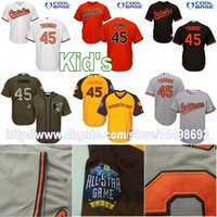 Wholesale Star Service - Youth Baltimore Orioles #45 Mark Trumbo Jersey Authentic White Orange Black Grey ALL STAR Green Salute to Service Kids Baseball Jerseys