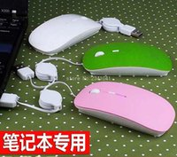 Wholesale Retractable Mouse For Laptop - Wholesale- Protable Wired Optical USB Scroll Mouse Retractable Cable 2400DPI Mini Mice For Travel Laptop PC Computer Notebook 4 colors