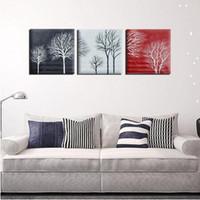 marcos negros para pinturas al óleo al por mayor-3 unids / set Negro Blanco Rojo Árbol Abstracto moderno pintado a mano pinturas al óleo sobre lienzo Home Wall Art Decor Sin marco
