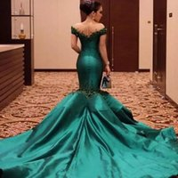 Wholesale Taffeta Trumpet Button Back - 2017 Off the Shoulder Prom Dresses Long Formal Mermaid Sheer Jewel Neck Beaded Crystals Appliques Hunter Green Evening Party Gowns Train