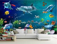 ingrosso murale di mare-3d carta da parati foto personalizzata murale Mare mondo delfino pesce scenario decorazione della stanza pittura 3d murales carta da parati per pareti 3 d